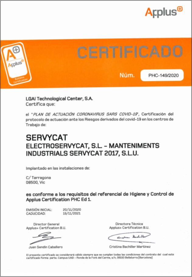 Certificat del protocol d'actuació davant els Riscos derivats de covid-19